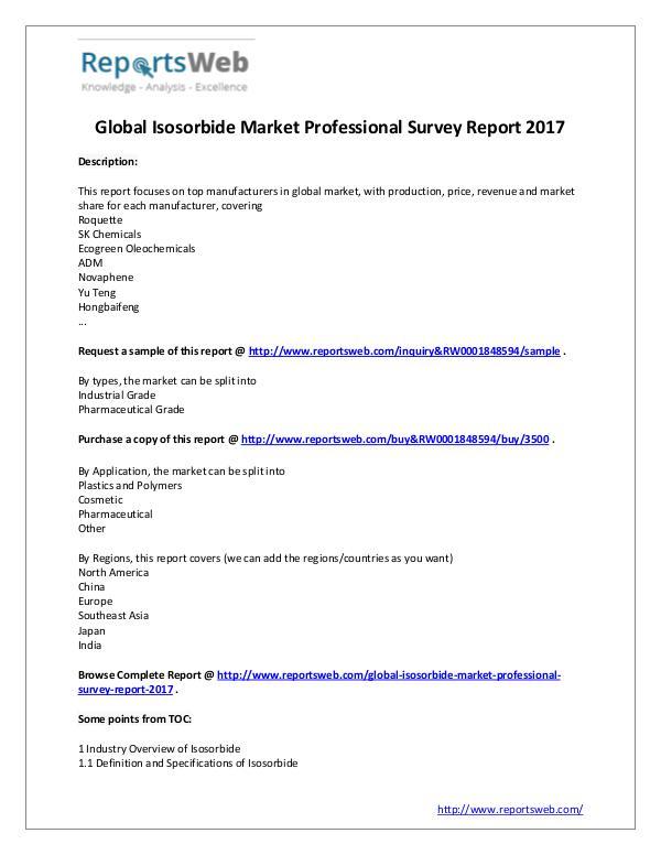 Market Analysis 2017 Study - Global Isosorbide Market