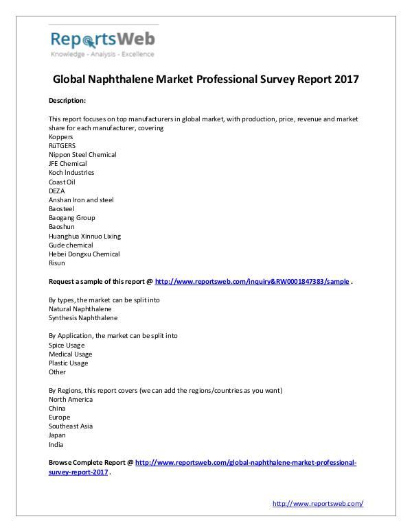 Market Analysis SWOT Analysis of Global Naphthalene Market 2017