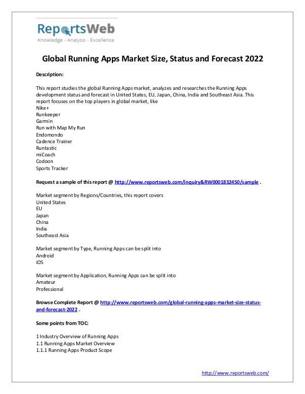 Market Analysis Running Apps Market Sales, Revenue and Share Study