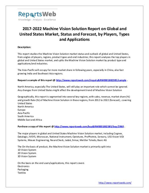 Market Analysis 2017 Global and US Machine Vision Solution Market