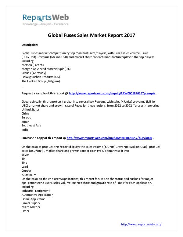 Market Analysis 2017 Study - Global Fuses Market