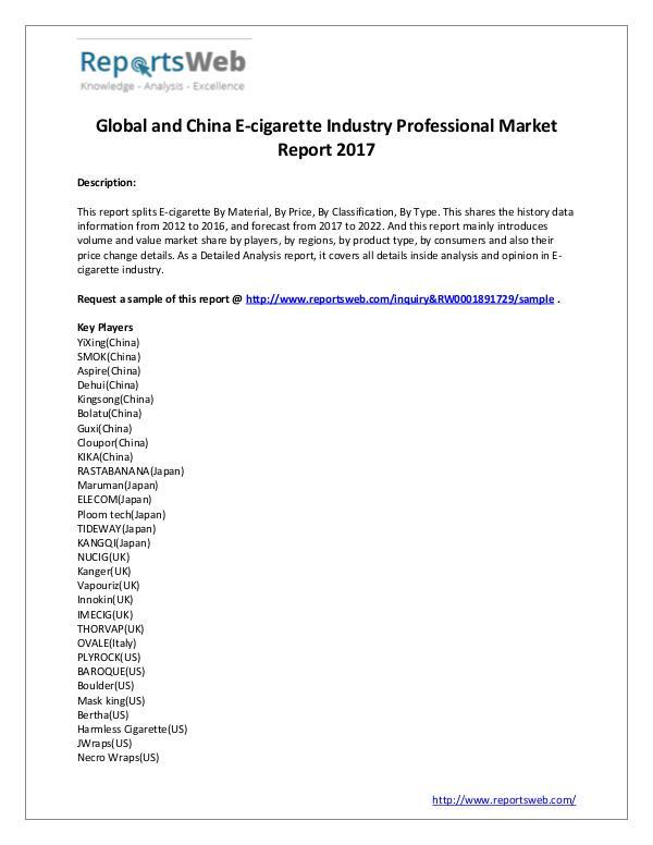 Market Analysis E-cigarette Market 2017 Emerging Trends