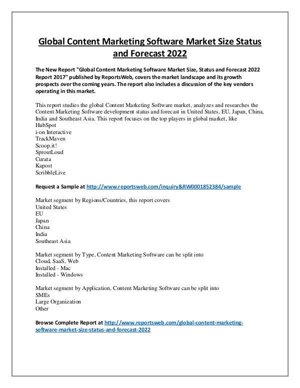 Market Analysis 2022 Forecast: Global Content Marketing Software