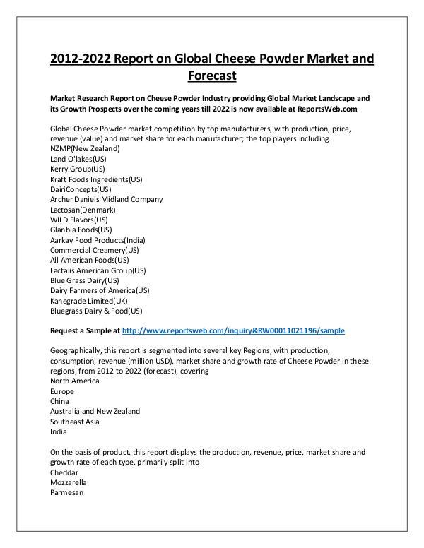 Market Analysis Cheese Powder Market Regional Forecast 2022