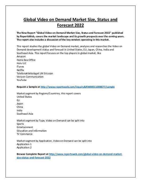 Market Analysis Video on Demand Market Regional Forecast 2022