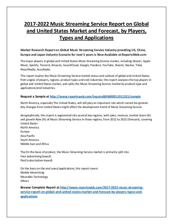 Market Analysis Music Streaming Service Global Market by Revenue