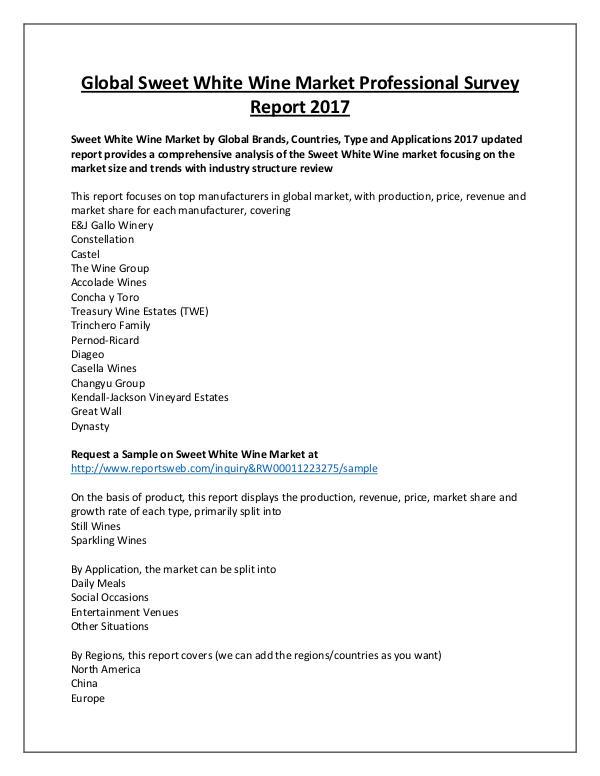 Market Analysis Sweet White Wine Market in World by End-User