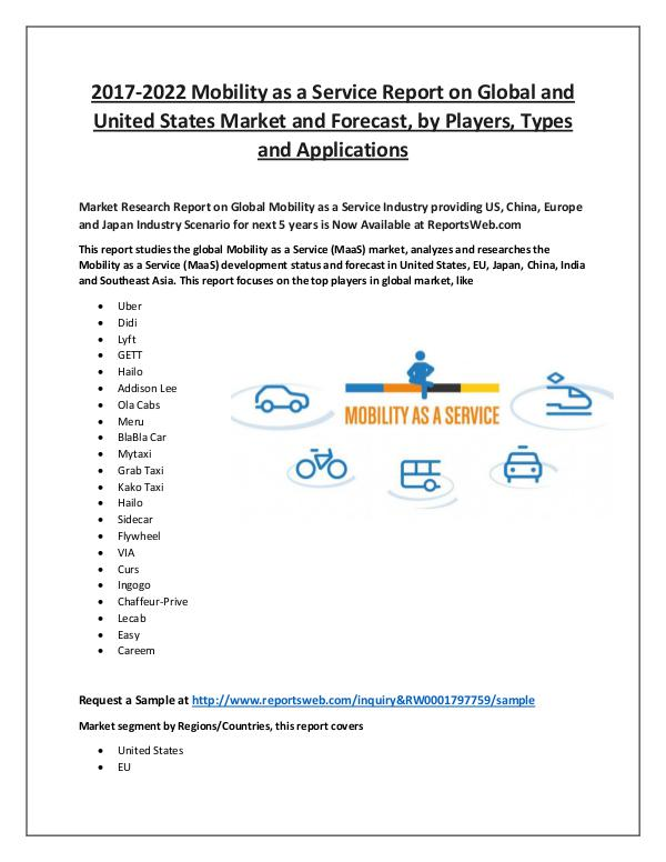 Market Analysis Mobility as a Service Market 2017 Overview