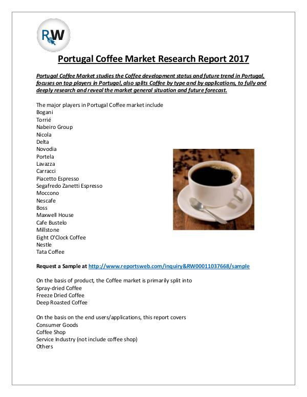 Market Analysis Portugal Coffee Market Research Report 2017