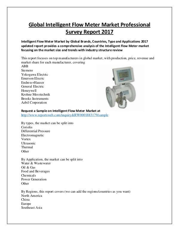 Market Analysis Intelligent Flow Meter Industry 2017
