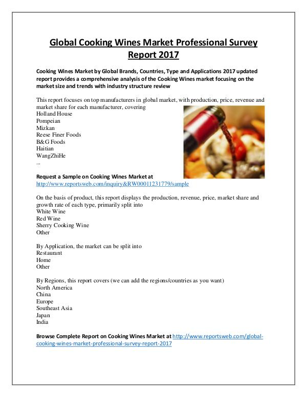 Market Analysis Cooking Wines Market Review and Forecast 2022