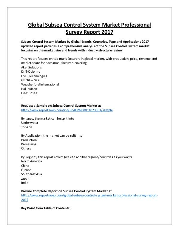 Market Analysis Subsea Control System Market Overview to 2022
