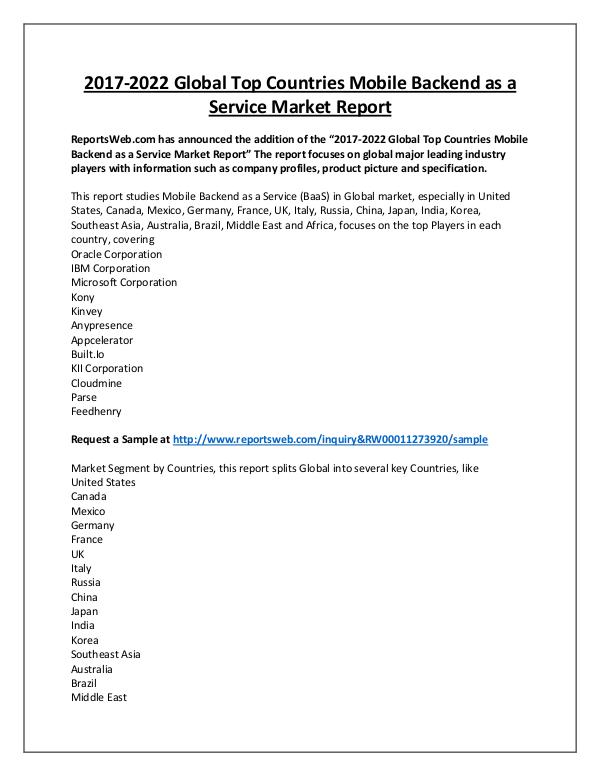Market Analysis Mobile Backend as a Service Market 2017 Emerging