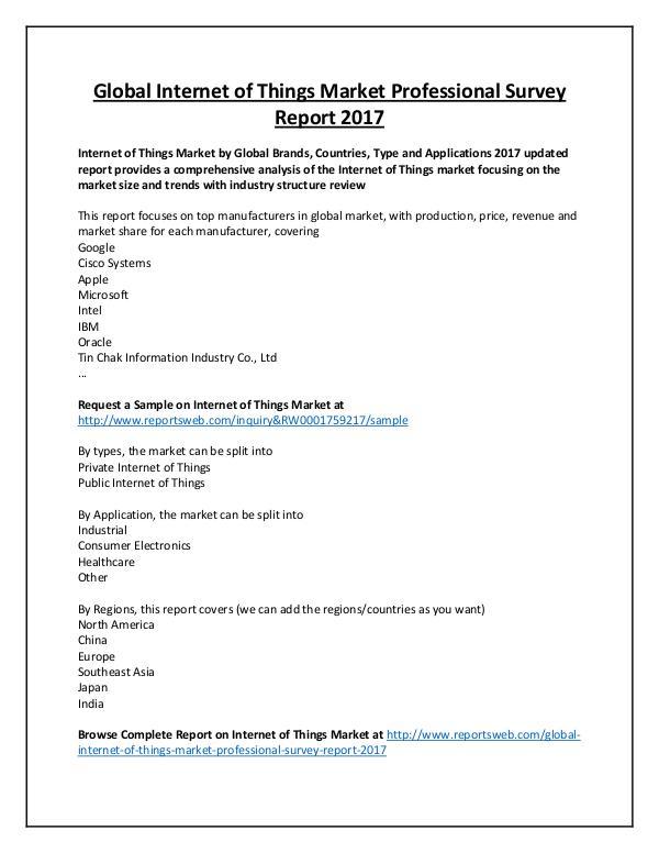 Market Analysis Internet of Things Market by Key Vendors, 2017