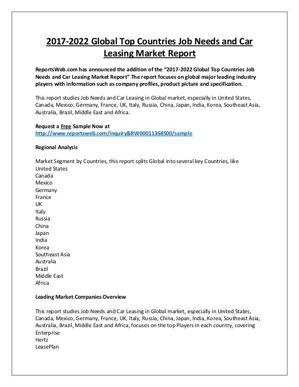 Market Analysis Job Needs and Car Leasing Market Regional Forecast