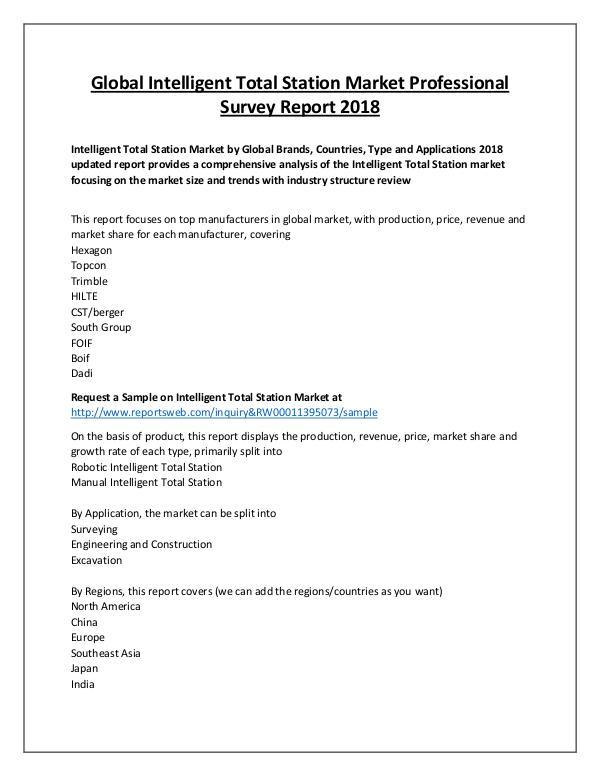 Market Analysis Intelligent Total Station Market 2018 Development