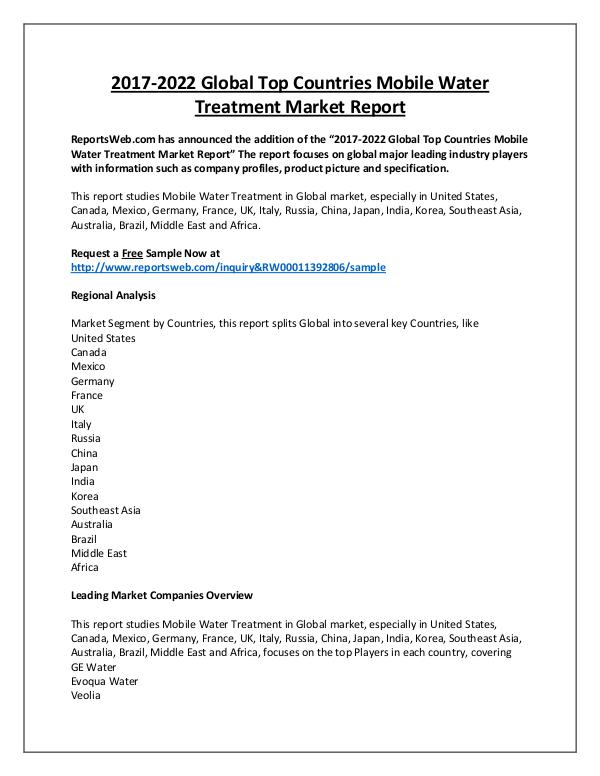 Market Analysis Mobile Water Treatment Market Regional Forecast