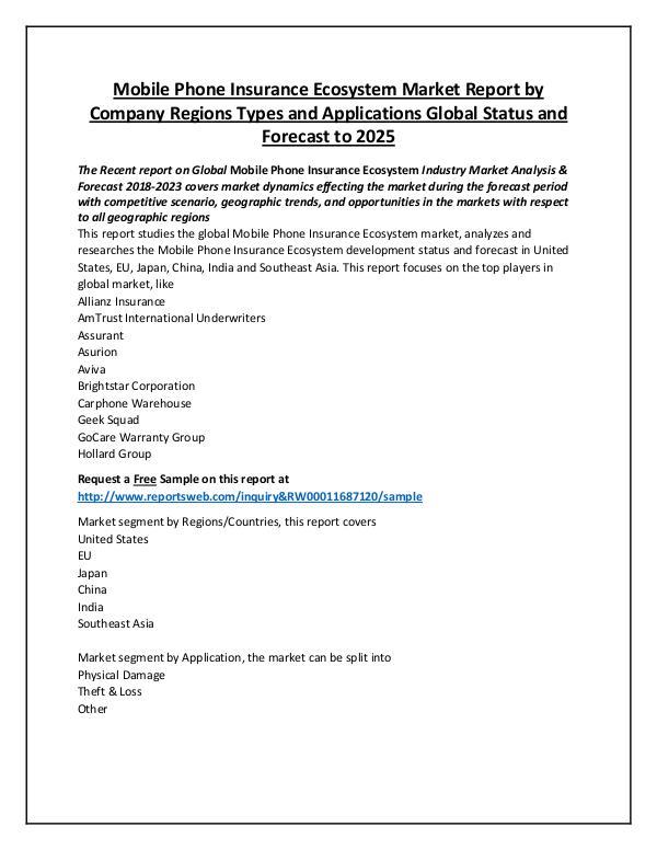 Market Analysis 2018 Mobile Phone Insurance Ecosystem Market