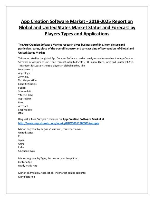 Market Analysis App Creation Software Market 2018 Key Brands