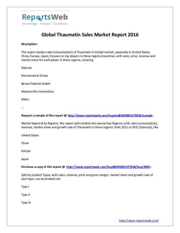 Market Analysis 2016 Analysis: Global Thaumatin Sales Industry