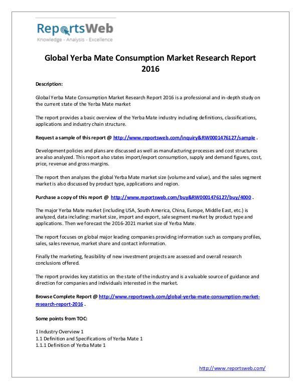 Market Analysis Global Yerba Mate Consumption Industry 2016