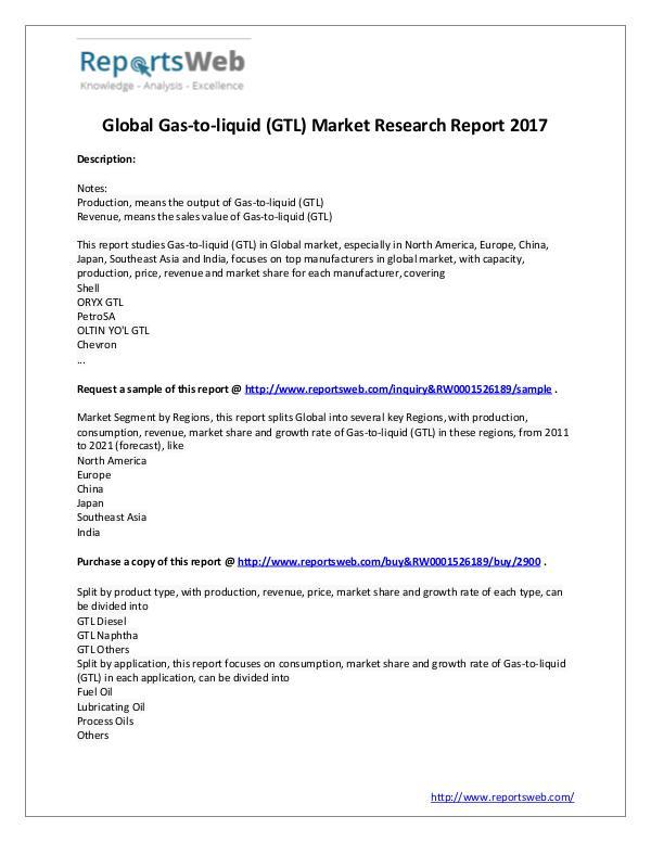 Market Analysis 2017 Analysis: Global Gas-to-liquid (GTL) Industry
