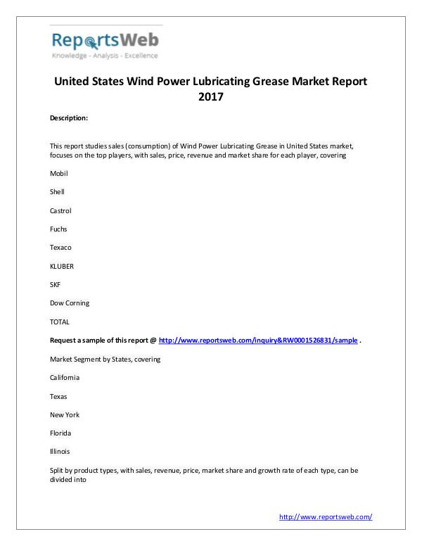 Market Analysis Wind Power Lubricating Grease Industry