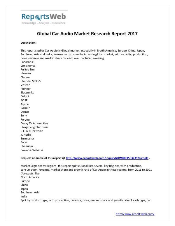 Market Analysis 2017 Study - Global Car Audio Market