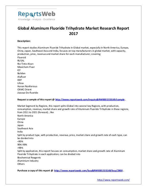 Market Analysis 2017 Global Aluminum Fluoride Trihydrate Market