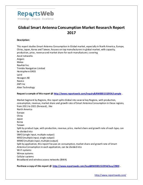 Market Analysis 2017 Global Smart Antenna Consumption Industry
