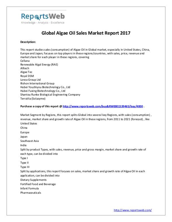 Market Analysis 2017 Analysis: Global Algae Oil Sales Industry