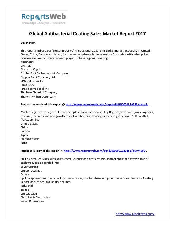 Market Analysis Worldwide Antibacterial Coating Sales Market 2017