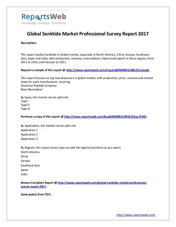 Market Analysis Senktide Market Professional Survey - Global Study