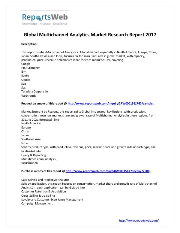 Market Analysis 2017 Global Multichannel Analytics Market