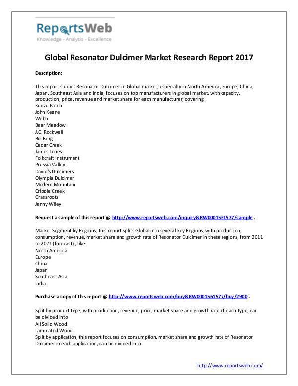 Market Analysis Resonator Dulcimer Market - Global Research Report