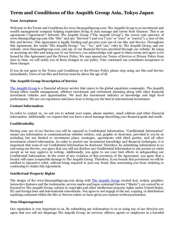 The Asquith Group Asia, Tokyo Japan Term and Conditions