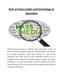 role of mass media and technology in education