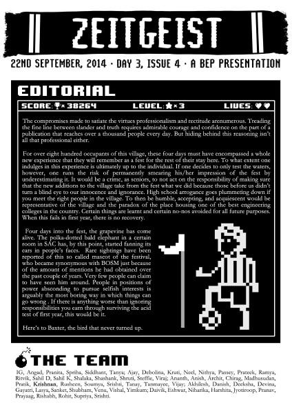 Zeitgeist Day 3, Issue 4