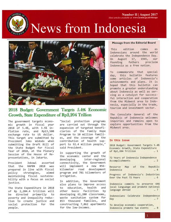 News from Indonesia August 2017