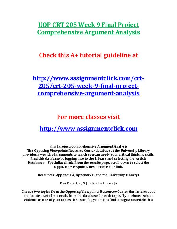 UOP CRT 205 Entire Course UOP CRT 205 Week 9 Final Project Comprehensive Arg