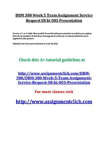 UOP DBM 380 Entire Course