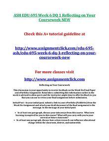 ASH EDU 675 Entire Course NEW