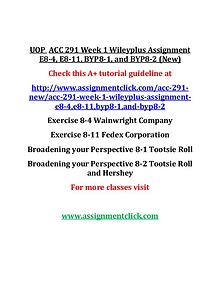 UOP  ACC 291 Entire Course