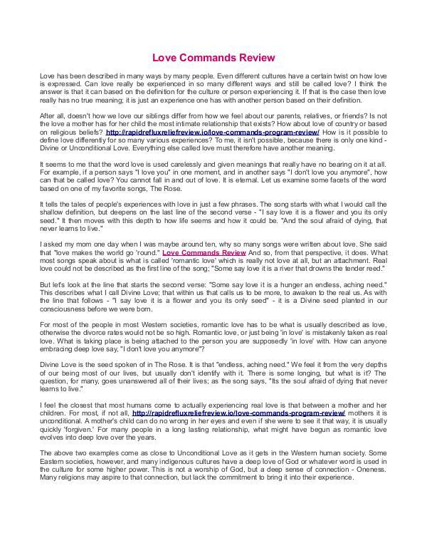 Love Commands Review Love Commands Review