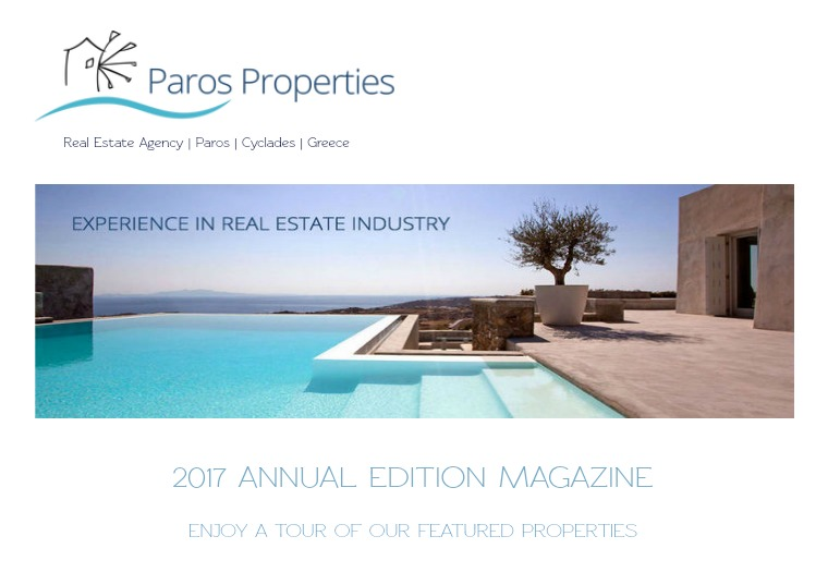Houses for sale by Paros Properties Real Estate Agency 2017 Annual Edition