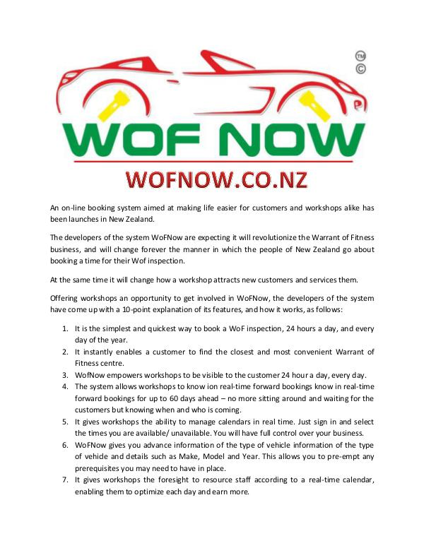 WOF NOW Article about WOF NOW