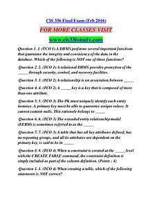 CIS 336 STUDY Career Begins/cis336study.com