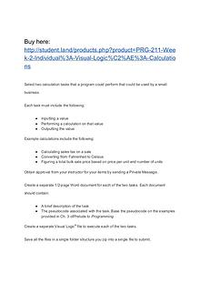 PRG 211 Week 2 Individual: Visual Logic®: Calculations
