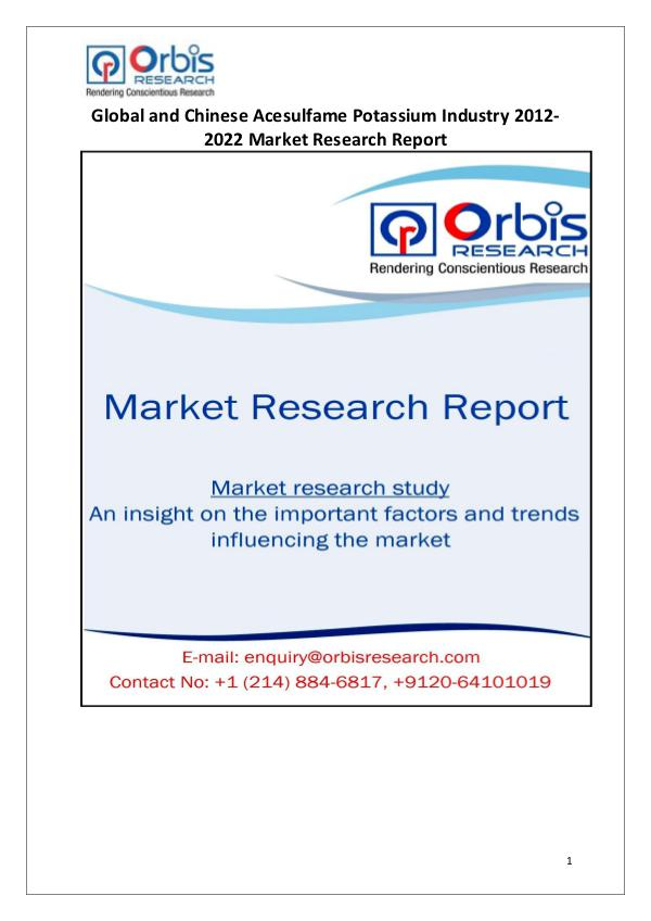 Market Research Reports Acesulfame Potassium Industry Worldwide and Chines