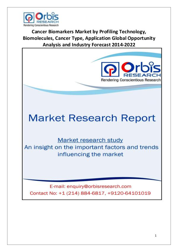 Market Research Reports Global Cancer Biomarkers Industry